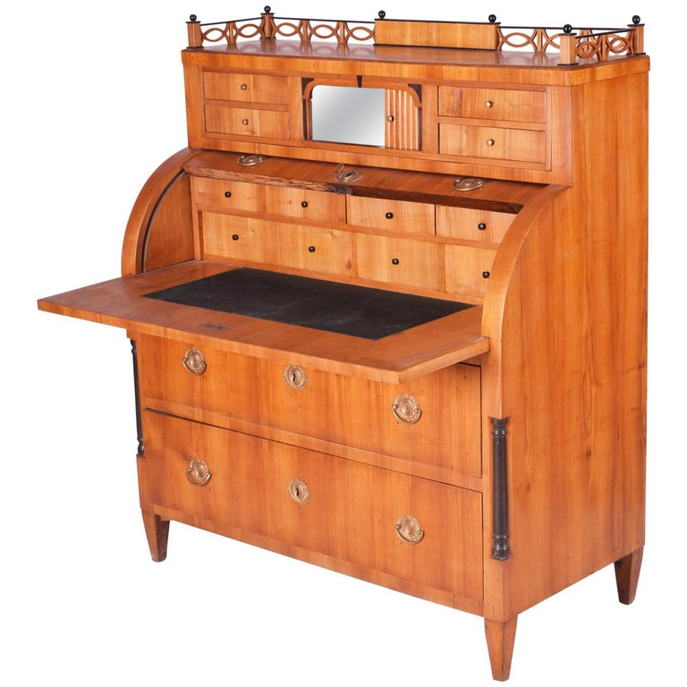 Unique Austrian Empire Cylinder Secretary/Writing Desk, Material Cherry, Wien For Sale