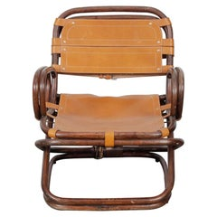 Unique Bamboo and Leather Lounge Chair from the 1970s, Sweden