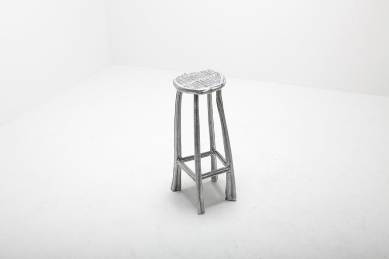 Unique bar stool T-009 by Studio Nicolas Erauw Piece unique 1 of 1 Dimensions: H 70 CM x Ø 33 CM Materials: Aluminum, wax dipped 13 kg  Part of the on-going 'Wax on/Wax off series'. These series are a collection of experiments of lost-wax