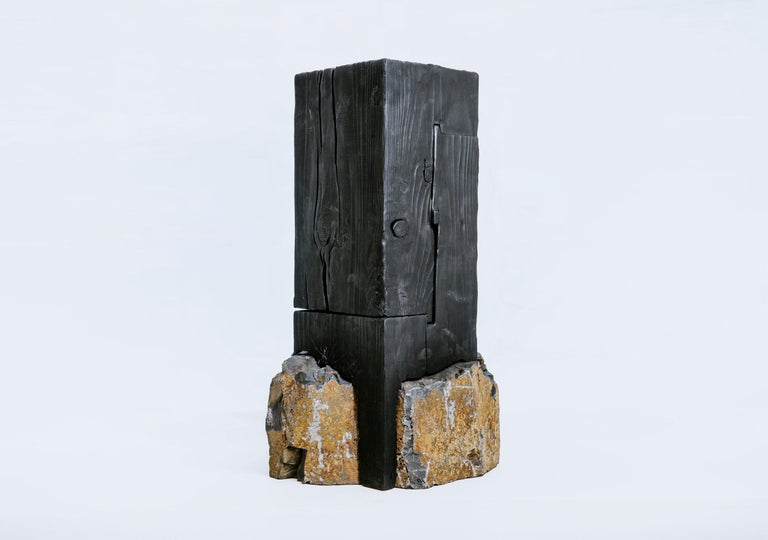Minimalist Unique Basalt and Blackened Redwood Pedestal Table by Base 10 For Sale
