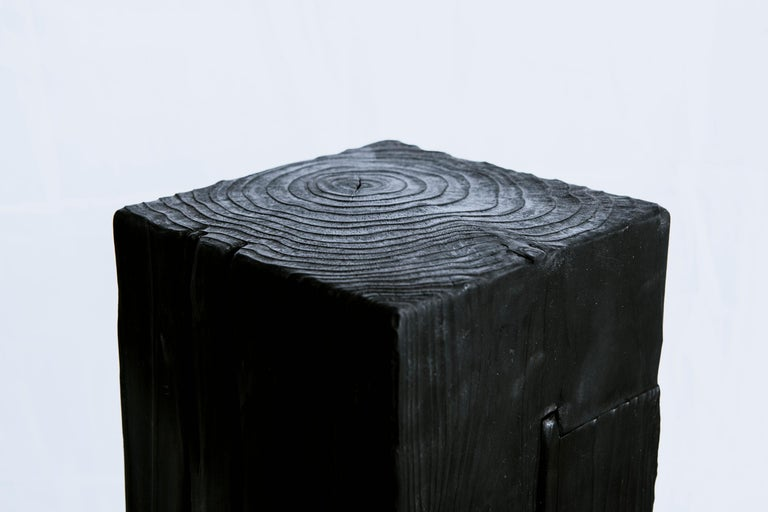 Unique Basalt and Blackened Redwood Pedestal Table by Base 10 In Excellent Condition For Sale In Los Angeles, CA