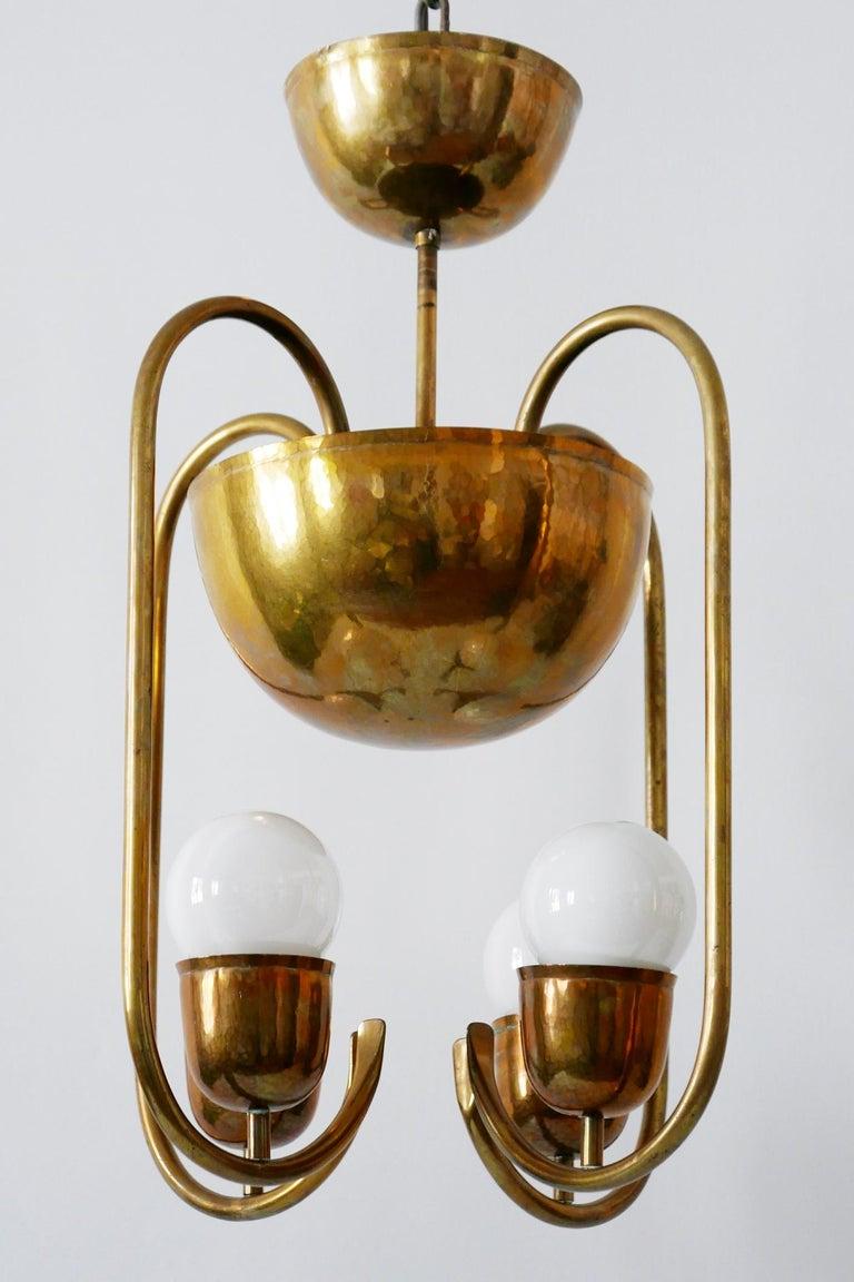 Unique Bauhaus Art Deco Brass Chandelier or Pendant Lamp by Hayno Focken 1930s For Sale 6