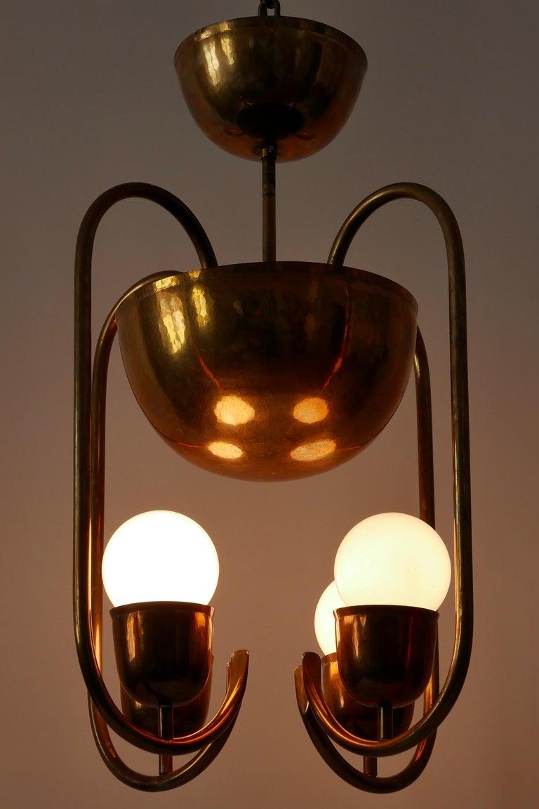 Unique Bauhaus Art Deco Brass Chandelier or Pendant Lamp by Hayno Focken 1930s For Sale 7