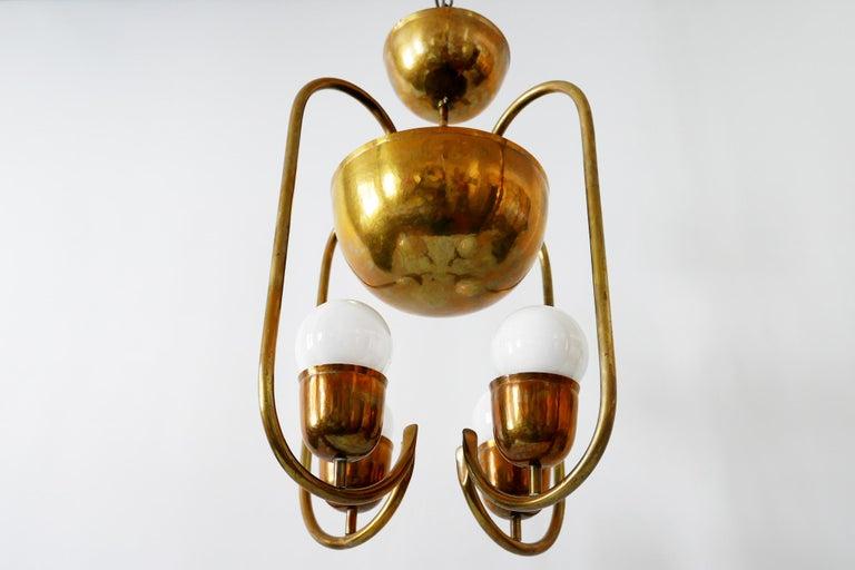 Unique Bauhaus Art Deco Brass Chandelier or Pendant Lamp by Hayno Focken 1930s For Sale 8