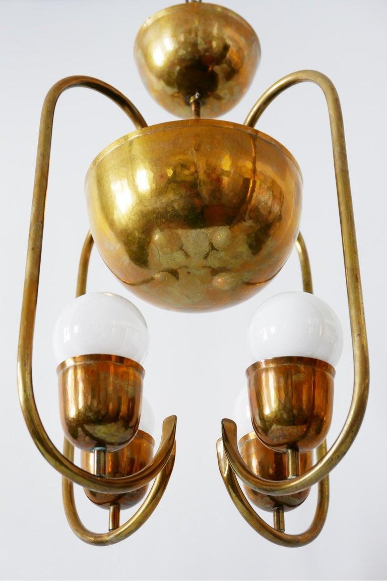 Unique Bauhaus Art Deco Brass Chandelier or Pendant Lamp by Hayno Focken 1930s For Sale 10