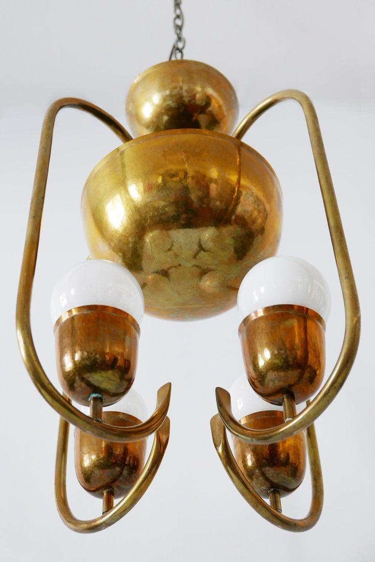 Unique Bauhaus Art Deco Brass Chandelier or Pendant Lamp by Hayno Focken 1930s For Sale 11