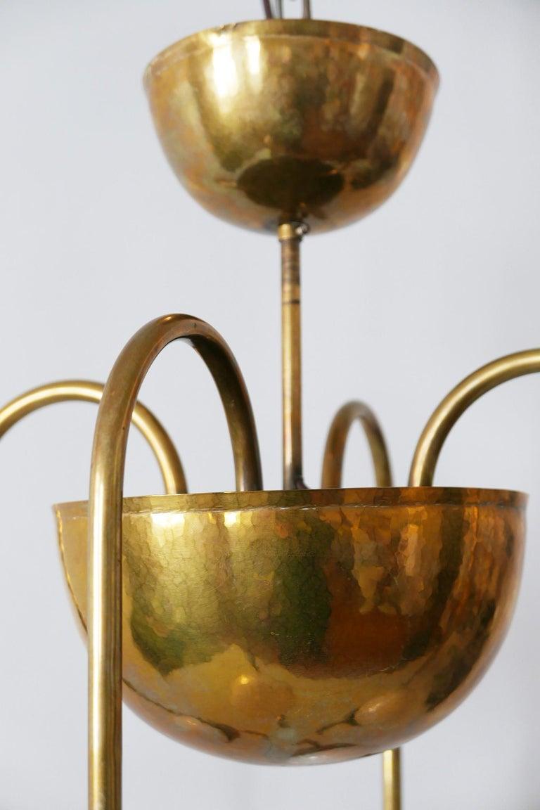 Unique Bauhaus Art Deco Brass Chandelier or Pendant Lamp by Hayno Focken 1930s For Sale 13