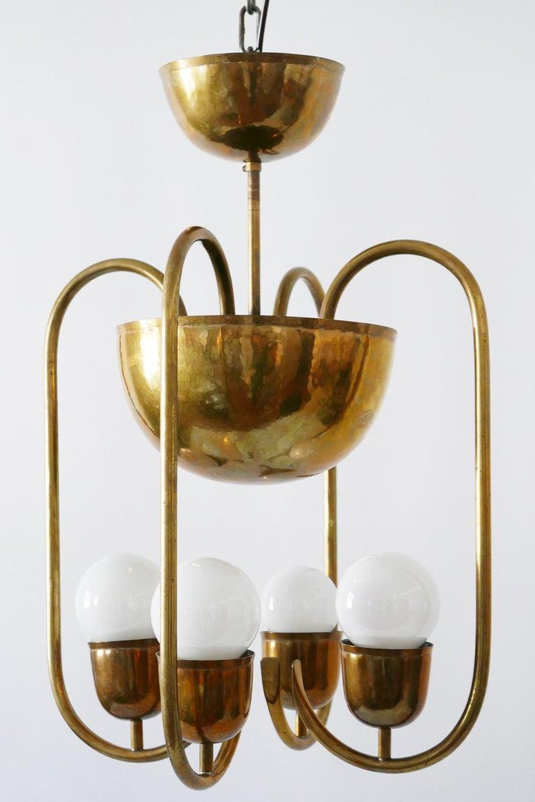 Hammered Unique Bauhaus Art Deco Brass Chandelier or Pendant Lamp by Hayno Focken 1930s For Sale