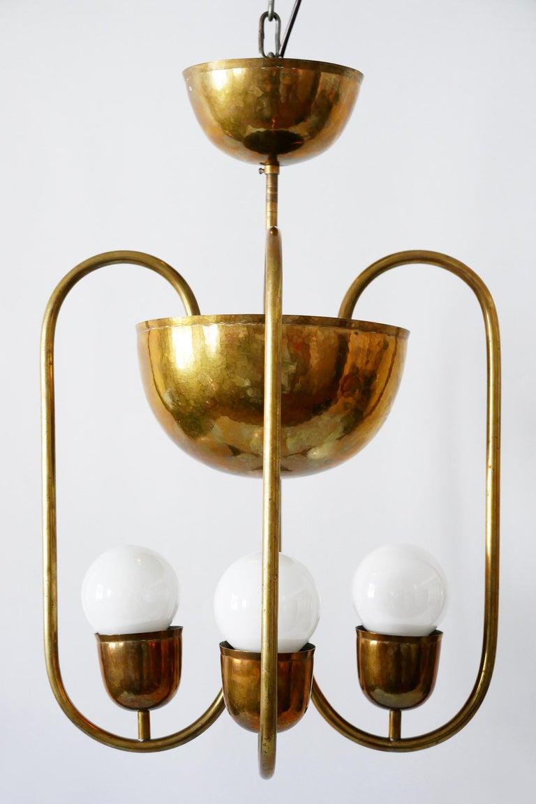 Mid-20th Century Unique Bauhaus Art Deco Brass Chandelier or Pendant Lamp by Hayno Focken 1930s For Sale