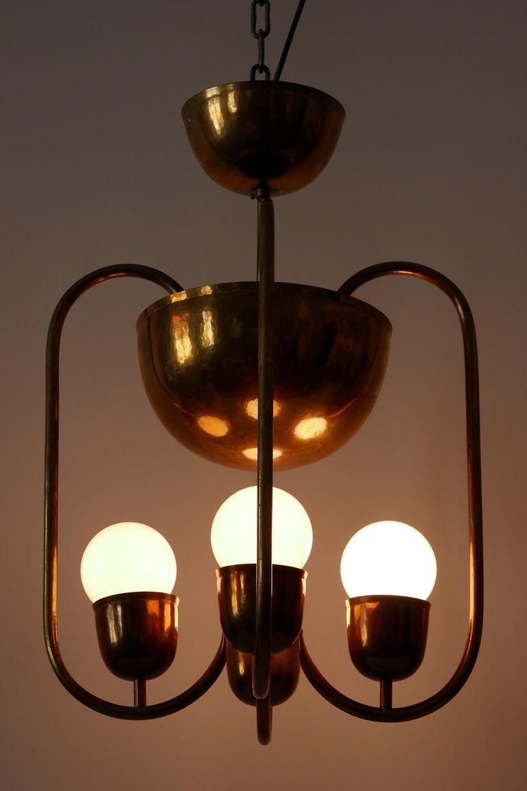 Unique Bauhaus Art Deco Brass Chandelier or Pendant Lamp by Hayno Focken 1930s For Sale 2