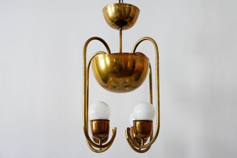 Unique Bauhaus Art Deco Brass Chandelier or Pendant Lamp by Hayno Focken 1930s For Sale 3