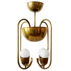 Unique Bauhaus Art Deco Brass Chandelier or Pendant Lamp by Hayno Focken, 1930s