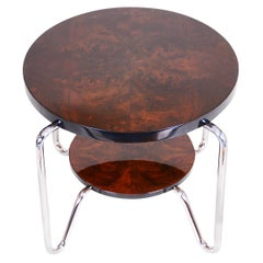 Unique Bauhaus Small Tall Side Table, Chrome and Lacquered Wood, Kovona, 1950s