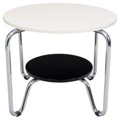 Unique Bauhaus Small Tall Side Table, Chrome and Makasar, Kovona, 1950s