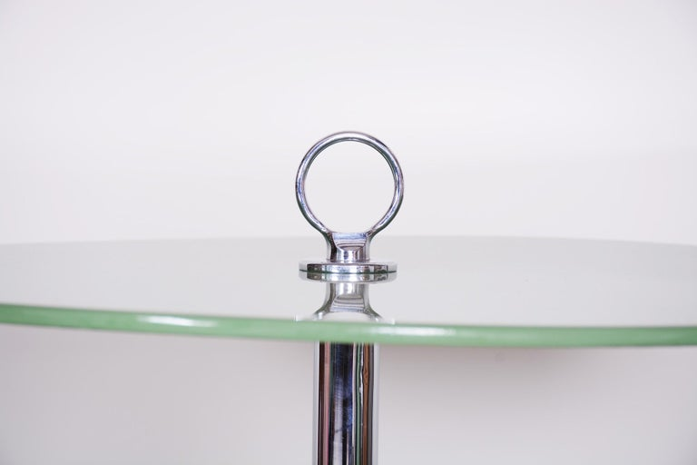 20th Century Unique Bauhause Small Tall Side Table, Chrome and Lacquered wood, Kovona, 1940s For Sale