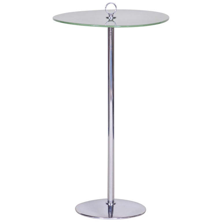 Unique Bauhause Small Tall Side Table, Chrome and Lacquered wood, Kovona, 1940s For Sale