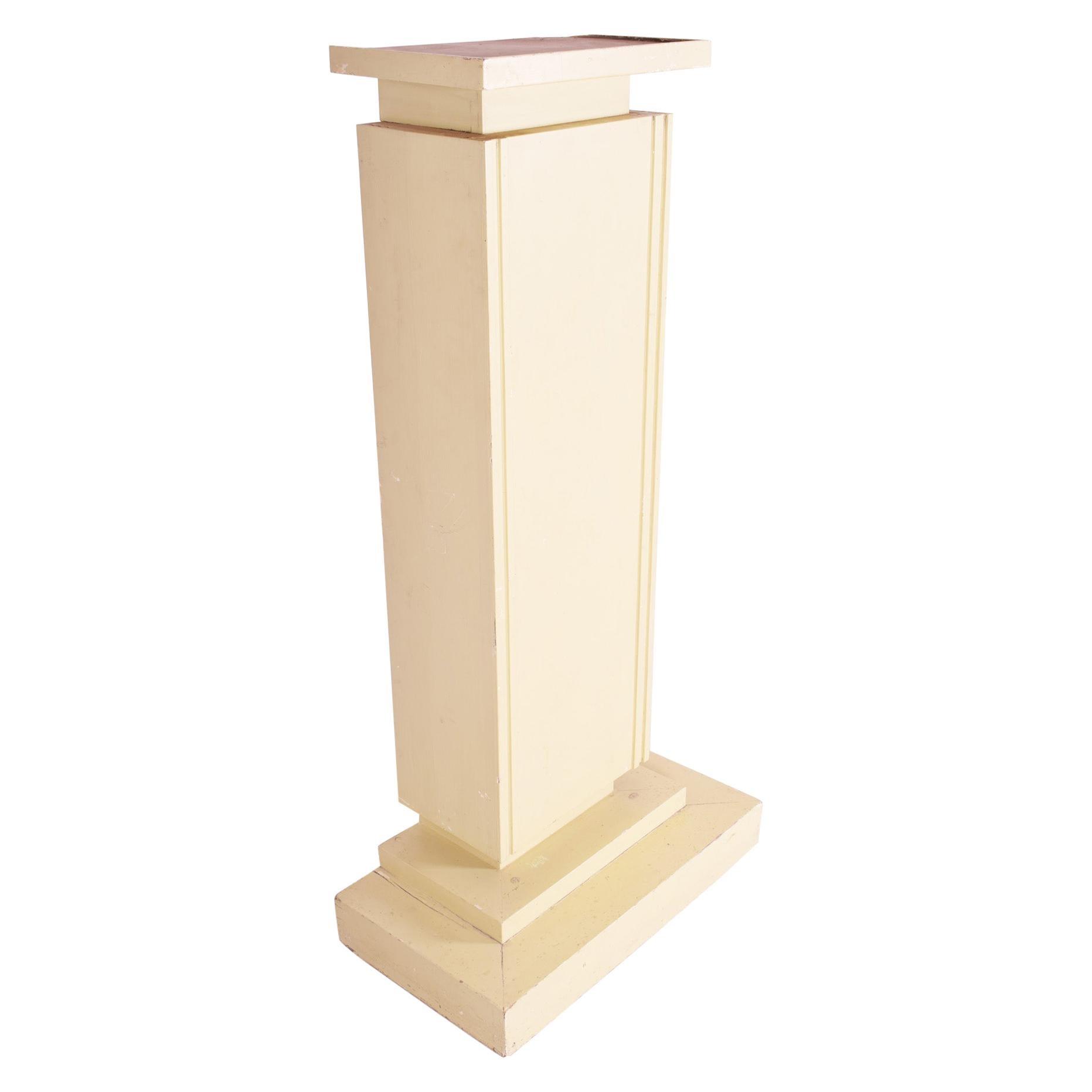 Unique Beige Czech Art Deco Pedestal, Original Condition, 1920s