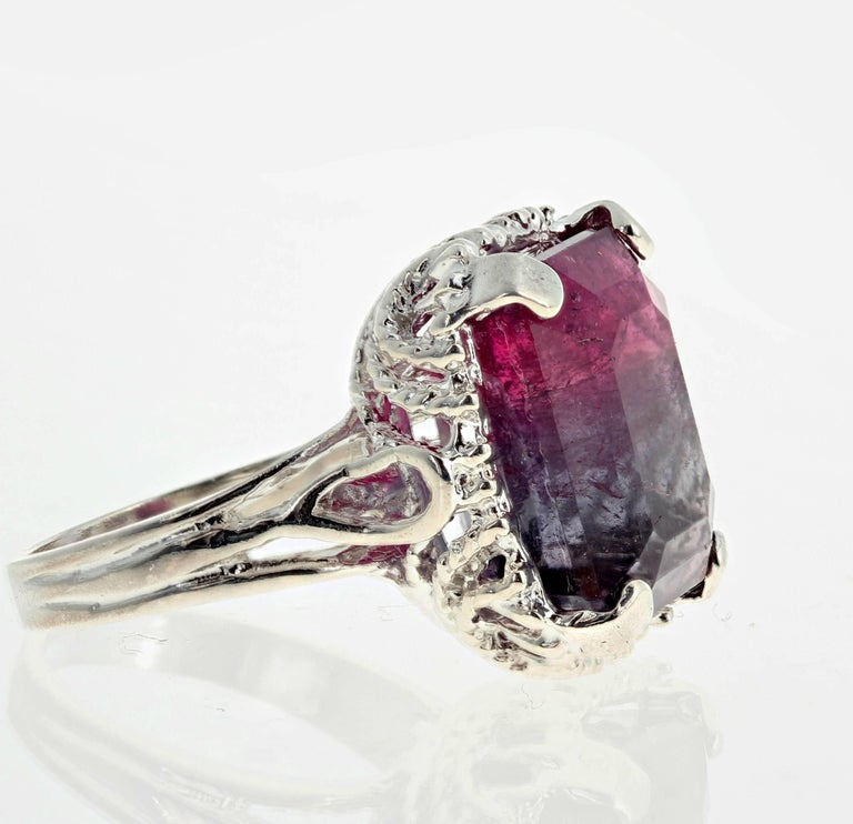 Women's or Men's Unique Bi-Color Tourmaline Sterling Silver Ring For Sale