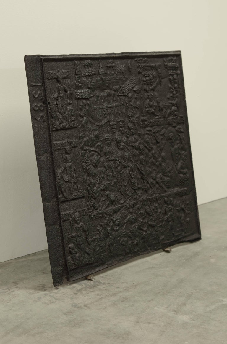 18th Century and Earlier Unique Biblical Cast Iron Antique Fireback, Dated 1585 For Sale