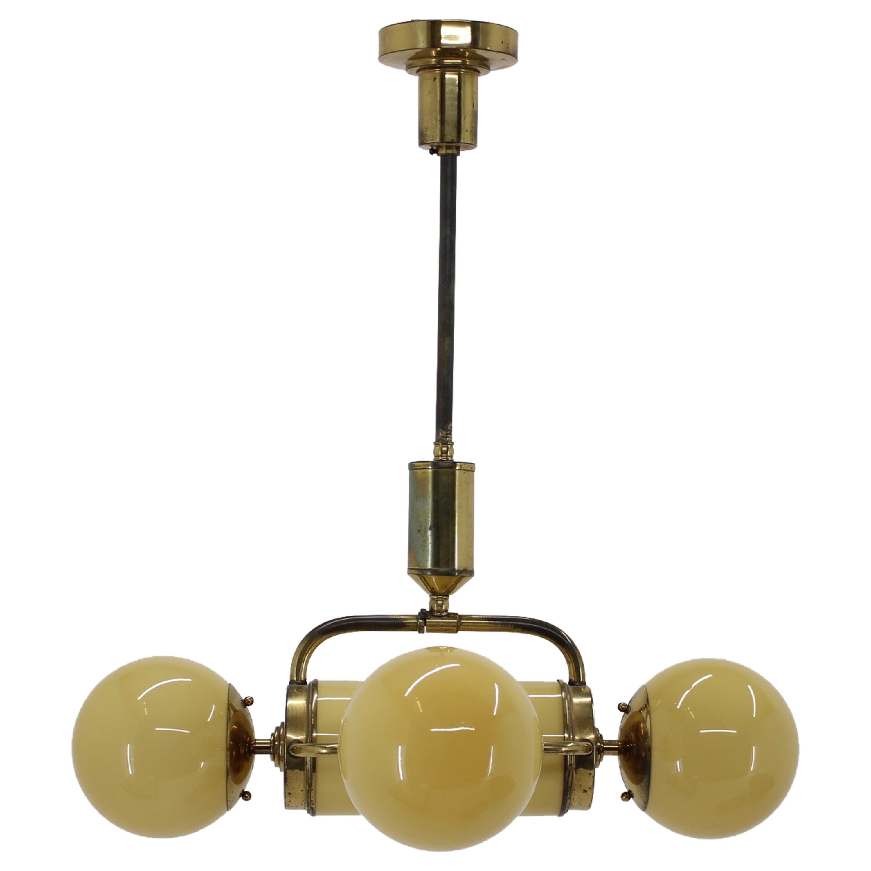 Unique Big Brass Bauhaus Chandelier / Pendant, 1930s