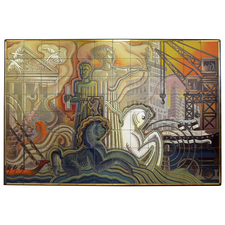 Unique Big Mid-Century Modern Ceramic Tiles Art Work by Joseph Roelants