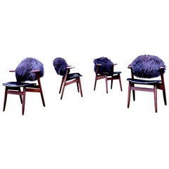 Unique Black Cowhorn Chairs by Tijsseling for Hulmefa, Set of Four, 1960s
