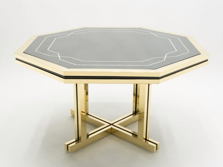 Mid-Century Modern Unique Black Lacquer and Brass Maison Jansen Dining Table, 1970s For Sale