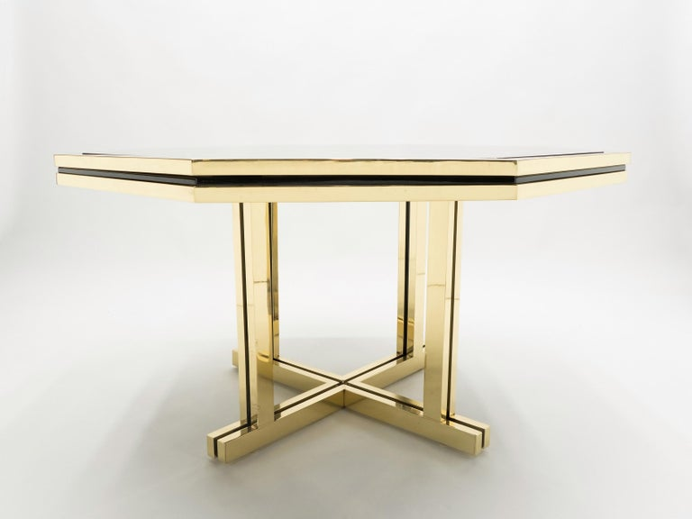 French Unique Black Lacquer and Brass Maison Jansen Dining Table, 1970s For Sale
