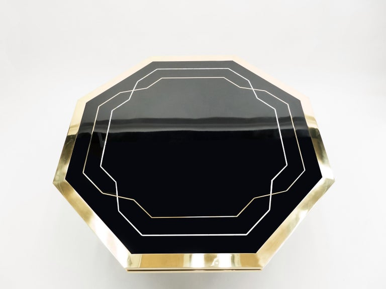 Late 20th Century Unique Black Lacquer and Brass Maison Jansen Dining Table, 1970s For Sale