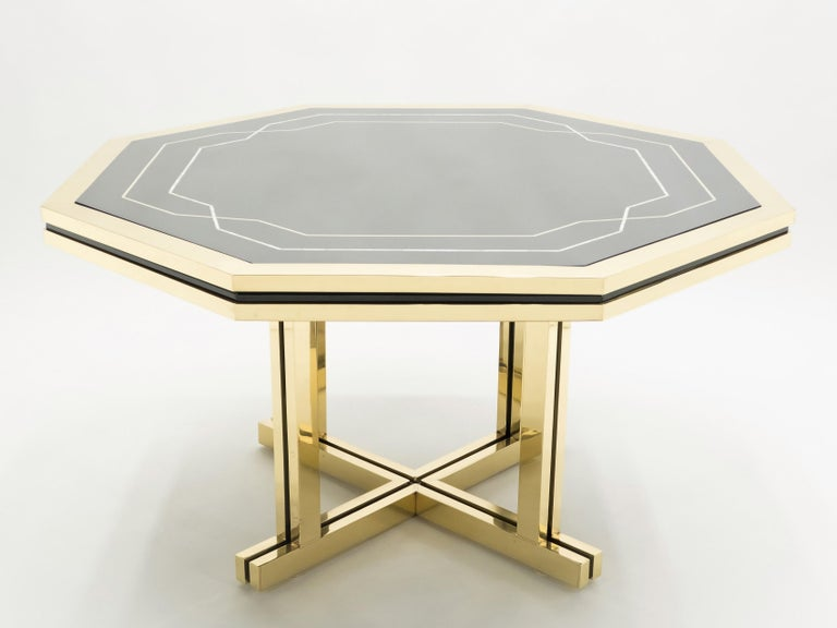 Unique Black Lacquer and Brass Maison Jansen Dining Table, 1970s For Sale 1