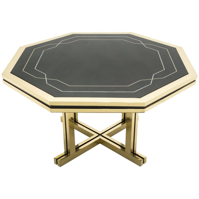 Unique Black Lacquer and Brass Maison Jansen Dining Table, 1970s For Sale