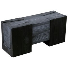 Unique Blackened Redwood Bench/Coffee Table by Base 10