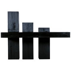 Unique Blackened Redwood Console Table by Base 10