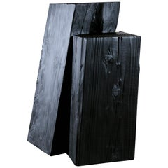 Unique Blackened Redwood Pedestal Table by Base 10