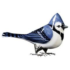 Unique Blue Bird by Estudio Guerrero Made with Glazed Ceramic and White Metal
