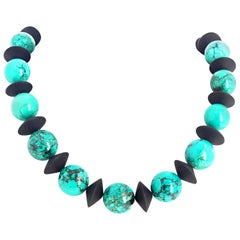 Unique Blue Turquoise and Onyx Necklace