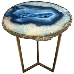 Unique Blue White Agate Stone Side Coffee Table
