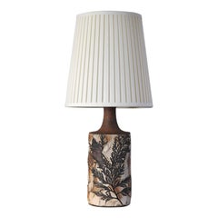 Unique Bodil Marie Nielsen Danish Modern Table Lamp with Leaves Print, 1960s