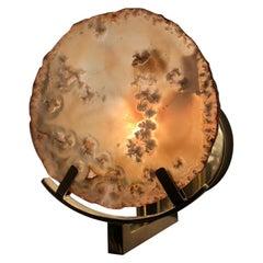 Unique Brass and Agate Stone Sconces