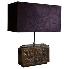 Unique Brass and Purple Silk Art Nouveau Table Lamp
