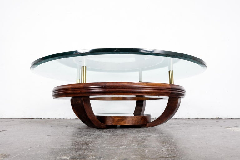 Unique Brazilian Bi-Level Glass Top Round Coffee Table with Wood Base For Sale at 1stdibs