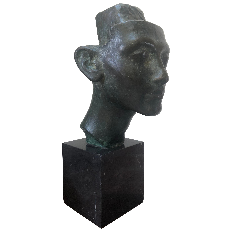 Unique Bronze Head Sculpture on Marble Solid Base