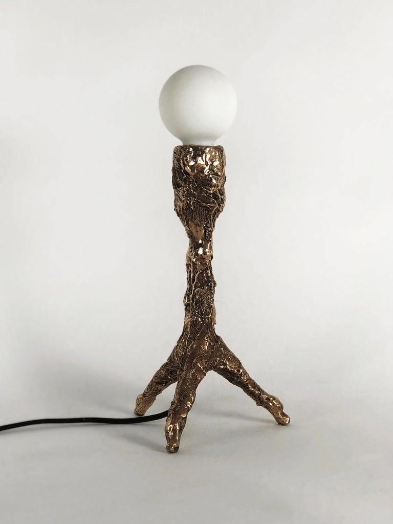 Unique Bronze Sculptural Table Lamp, Signed by William Guillon For Sale 1