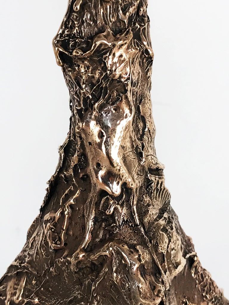 Unique Bronze Sculptural Table Lamp, Signed by William Guillon For Sale 2