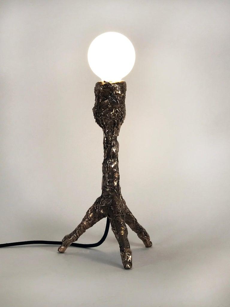 Unique Bronze Sculptural Table Lamp, Signed by William Guillon For Sale 3