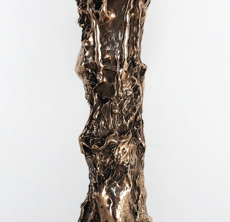 Unique Bronze Sculptural Table Lamp, Signed by William Guillon For Sale 4