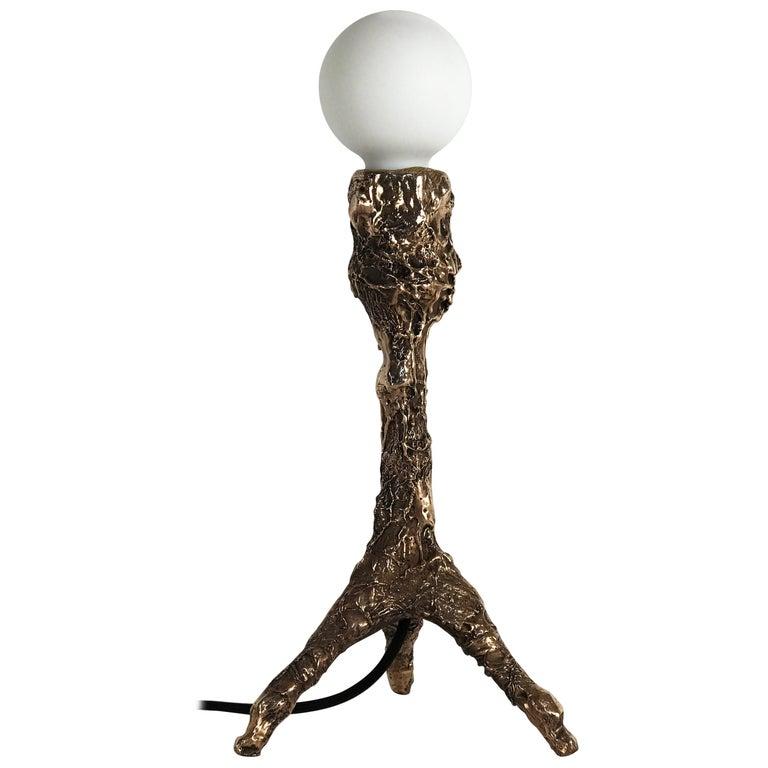 Unique Bronze Sculptural Table Lamp, Signed by William Guillon For Sale