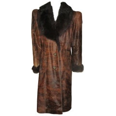 Unique Brown Pony Skin or Cowhide Leather Fur Coat