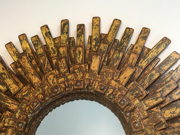 Unique Brutalist Mirror Made of Painted Wood, Rope & Old Iron Nails, Signed ARBO For Sale 7