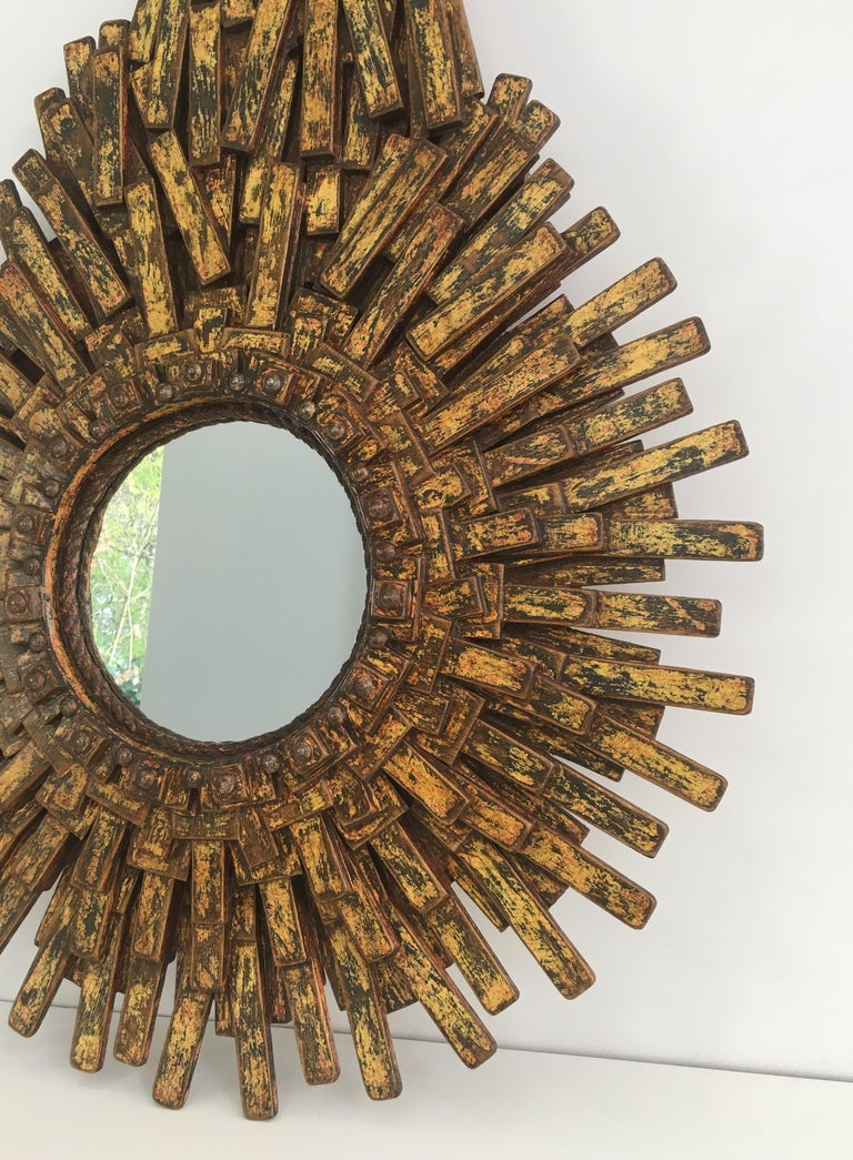Unique Brutalist Mirror Made of Painted Wood, Rope & Old Iron Nails, Signed ARBO In Good Condition For Sale In Marcq-en-Baroeul, FR